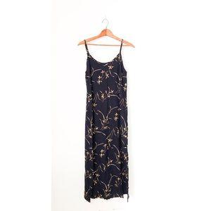 Vintage Schemes Navy Blue Floral Maxi Dress